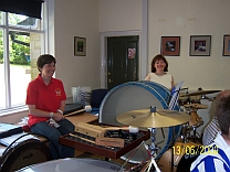 The percussion section in rehearsal